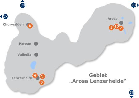 Karte mit Pensionen und anderen Unterkünften im Gebiet Arosa Lenzerheide