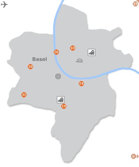 Karte mit Pensionen und anderen Unterkünften in Basel