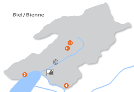 Karte mit Pensionen und anderen Unterk�nften in Biel / Bienne