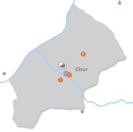 Karte mit Pensionen und anderen Unterkünften in Chur
