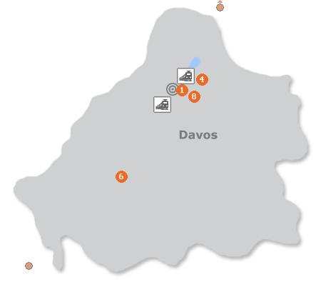 Karte mit Pensionen und anderen Unterkünften in Davos