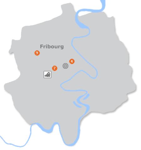Karte mit Pensionen und anderen Unterkünften in Freiburg / Fribourg