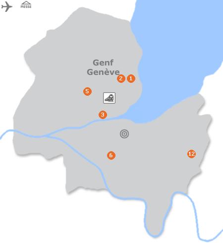 Karte mit Pensionen und anderen Unterk�nften in Genf
