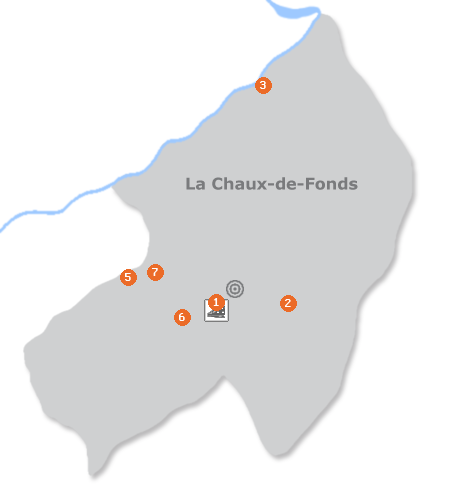 Karte mit Pensionen und anderen Unterkünften in La Chaux-de-Fonds