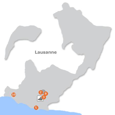 Karte mit Pensionen und anderen Unterkünften in Lausanne