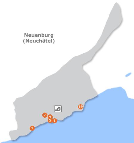 Karte mit Pensionen und anderen Unterk�nften in Neuenburg