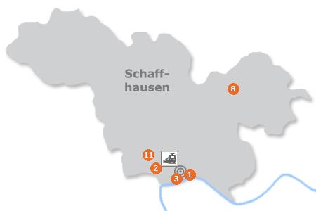 Karte mit Pensionen und anderen Unterkünften in Schaffhausen