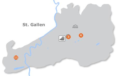 Karte mit Pensionen und anderen Unterkünften in St. Gallen