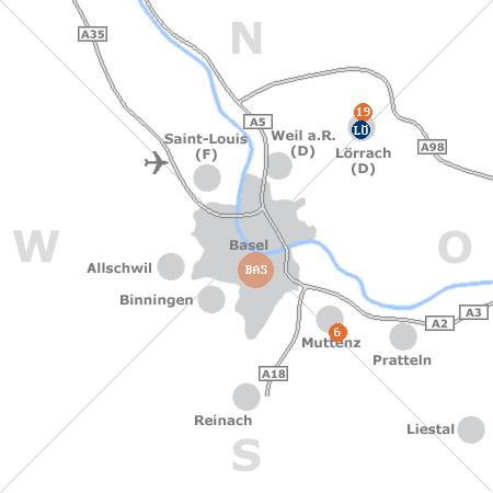 Karte mit Pensionen und anderen Unterkünften rund um Basel