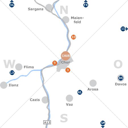 Karte mit Pensionen und anderen Unterkünften rund um Chur