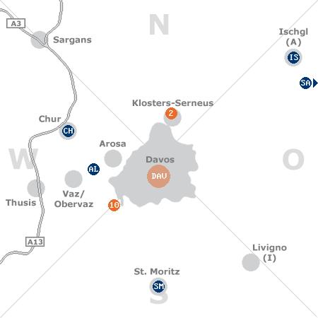 Karte mit Pensionen und anderen Unterk�nften rund um Davos
