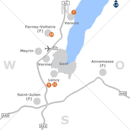 Karte mit Pensionen und anderen Unterk�nften rund um Genf