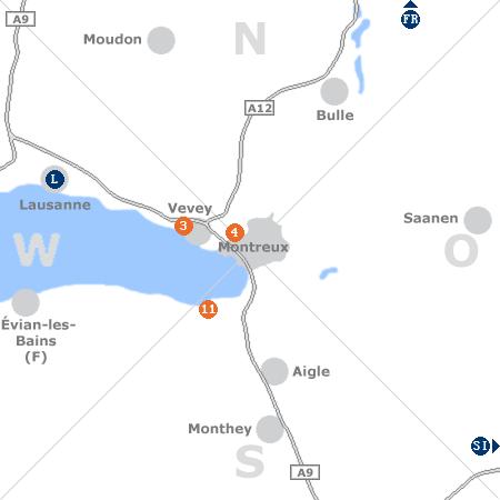 Karte mit Pensionen und anderen Unterkünften rund um Montreux