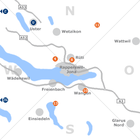 Karte mit Pensionen und anderen Unterkünften rund um Rapperswil-Jona