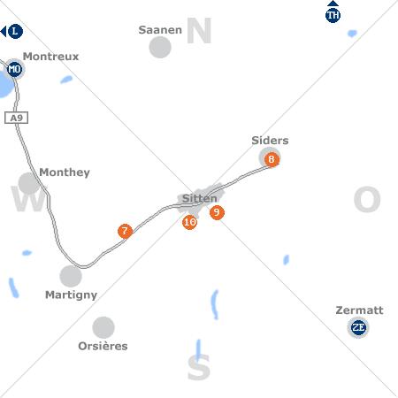 Karte mit Pensionen und anderen Unterk�nften rund um Sitten/Sion