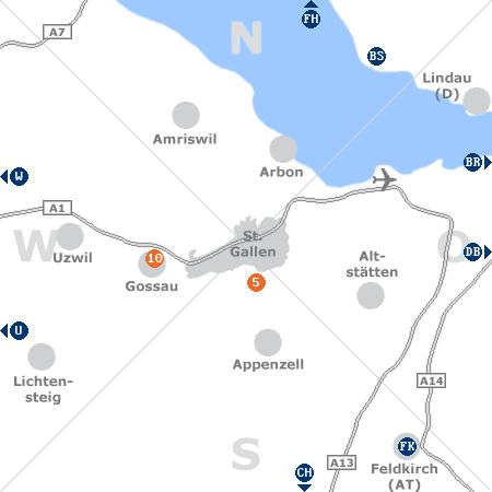 Karte mit Pensionen und anderen Unterkünften rund um St. Gallen