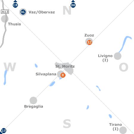 Karte mit Pensionen und anderen Unterk�nften rund um St. Moritz