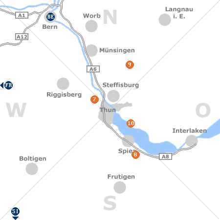 Karte mit Pensionen und anderen Unterkünften rund um Thun
