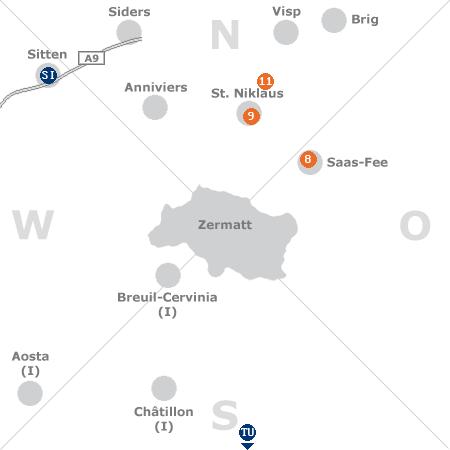 Karte mit Pensionen und anderen Unterkünften rund um Zermatt