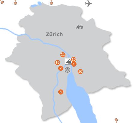 Karte mit Pensionen und anderen Unterkünften in Zürich
