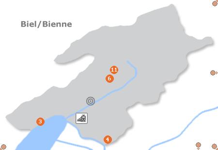 Karte mit Pensionen und anderen Unterkünften in Biel / Bienne