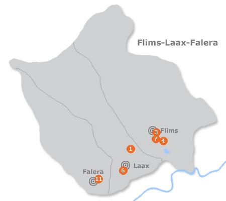 Karte mit Pensionen und anderen Unterkünften in Laax