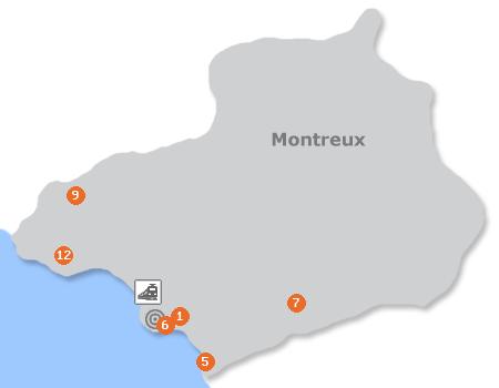 Karte mit Pensionen und anderen Unterkünften in Montreux