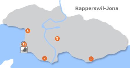 Karte mit Pensionen und anderen Unterkünften in Rapperswil-Jona