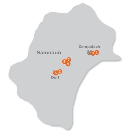 Karte mit Pensionen und anderen Unterkünften in Samnaun