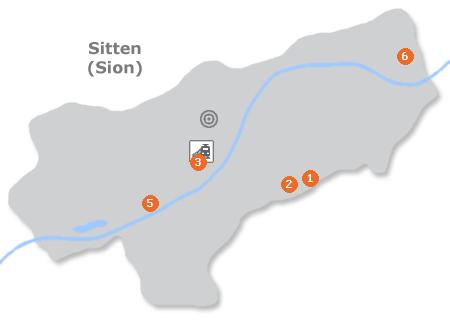 Karte mit Pensionen und anderen Unterkünften in Sitten/Sion
