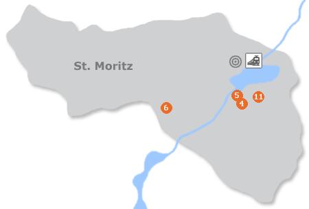 Karte mit Pensionen und anderen Unterkünften in St. Moritz