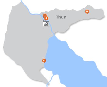 Karte mit Pensionen und anderen Unterkünften in Thun