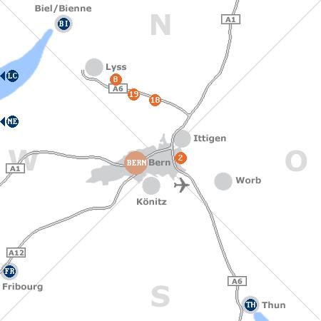 Karte mit Pensionen und anderen Unterkünften rund um Bern