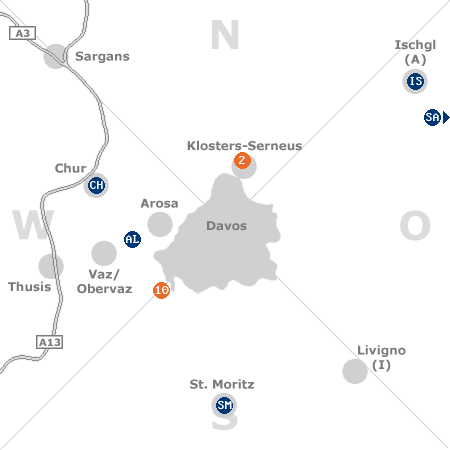 Karte mit Pensionen und anderen Unterkünften rund um Davos