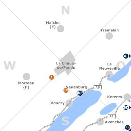 Karte mit Pensionen und anderen Unterkünften rund um La Chaux-de-Fonds