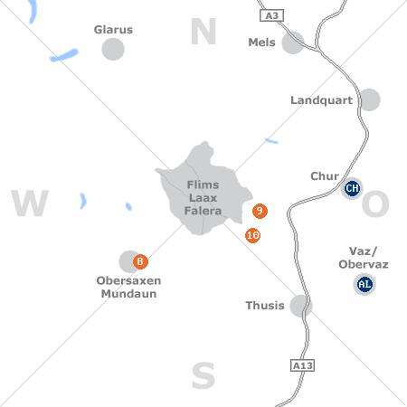 Karte mit Pensionen und anderen Unterkünften rund um Laax