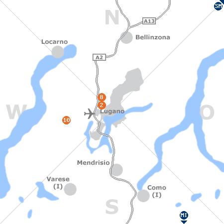 Karte mit Pensionen und anderen Unterkünften rund um Lugano