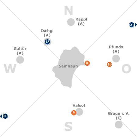 Karte mit Pensionen und anderen Unterkünften rund um Samnaun