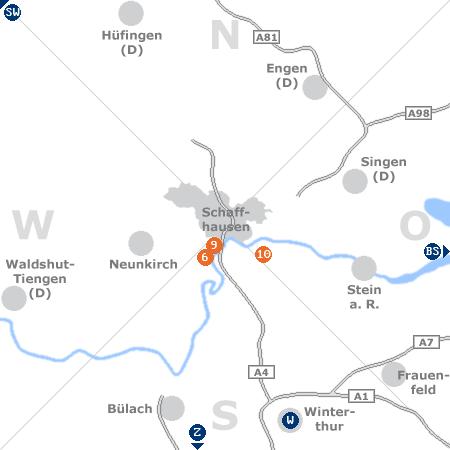 Karte mit Pensionen und anderen Unterkünften rund um Schaffhausen