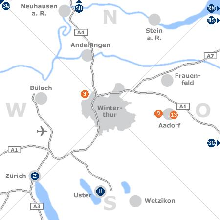 Karte mit Pensionen und anderen Unterkünften rund um Winterthur