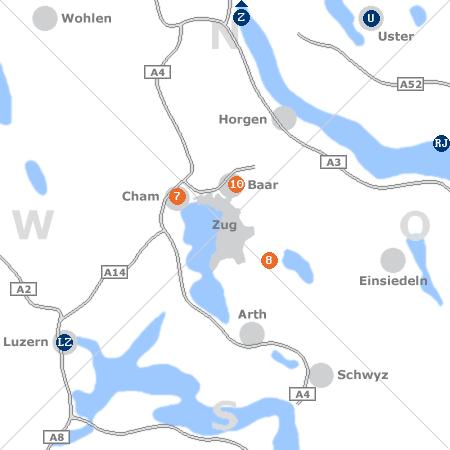 Karte mit Pensionen und anderen Unterkünften rund um Zug