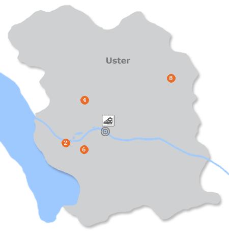 Karte mit Pensionen und anderen Unterkünften in Uster