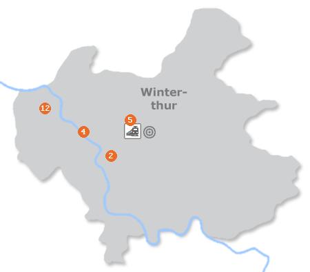 Karte mit Pensionen und anderen Unterkünften in Winterthur