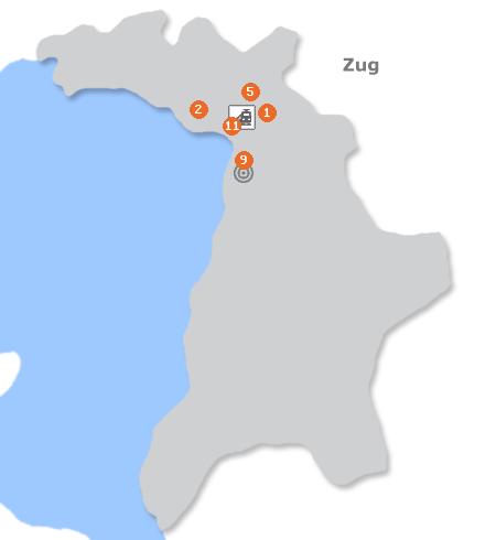 Karte mit Pensionen und anderen Unterkünften in Zug